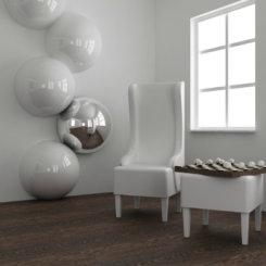 Ciemne panele podłogowe w połączeniu z białym wnętrzem