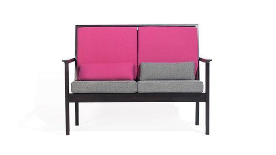 sofa 2-osobowa - różowo-szara