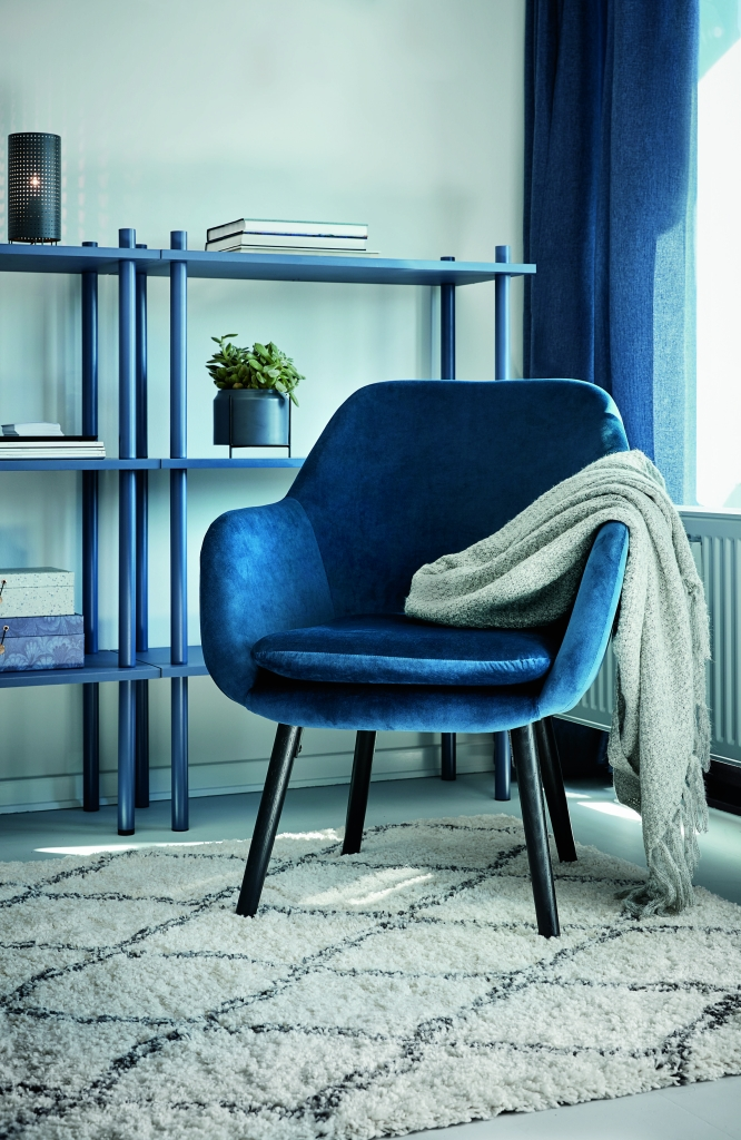 Fotel Udsbjerg Welur Niebieski Galeria Wnętrz Domar