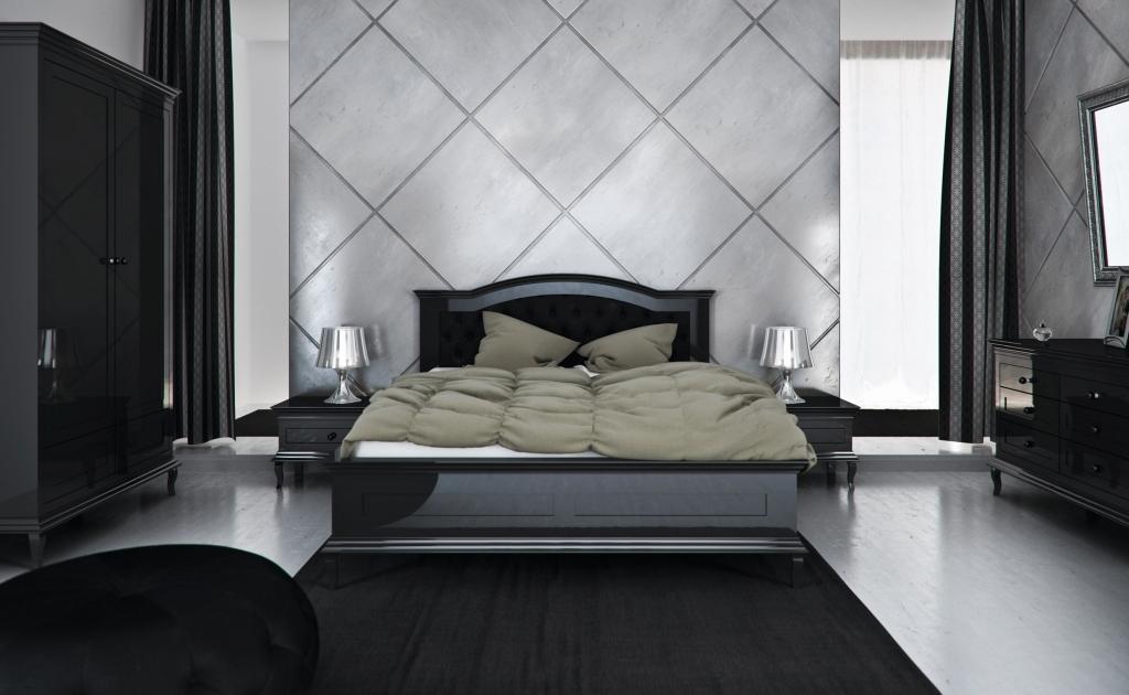 Klasyczne, ciemne łóżko do sypialni