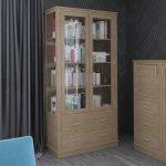 Biblioteczka z przeszklonymi bokami - dąb - kraft mebel