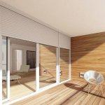 Białe rolety zewnętrzne - okno tarasowe
