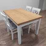 Zestaw - biały stół z 4 krzesłami