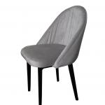 Szare krzesło na czarnych, drewnianych nogach